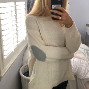 Cream colored elbow patch sweater